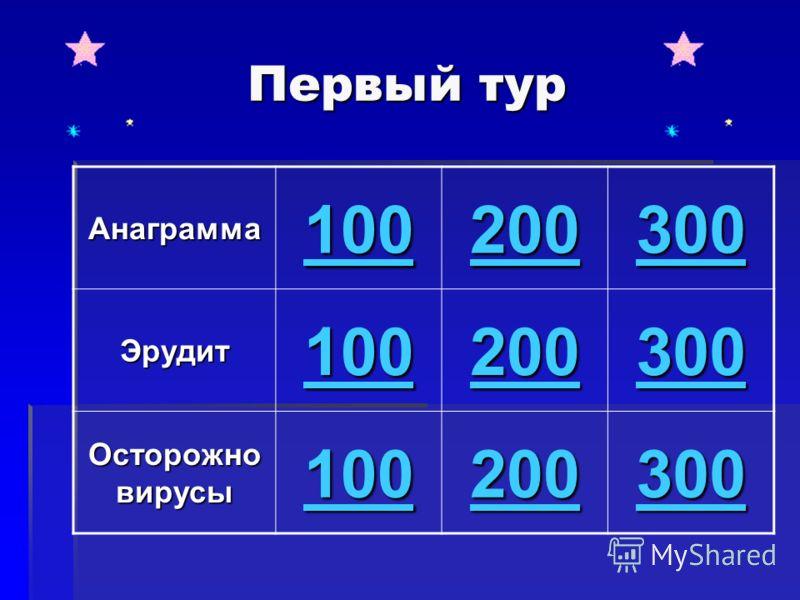 Первый тур Анаграмма 100 200 300 Эрудит 100 200 300 Осторожно вирусы 100 200 300