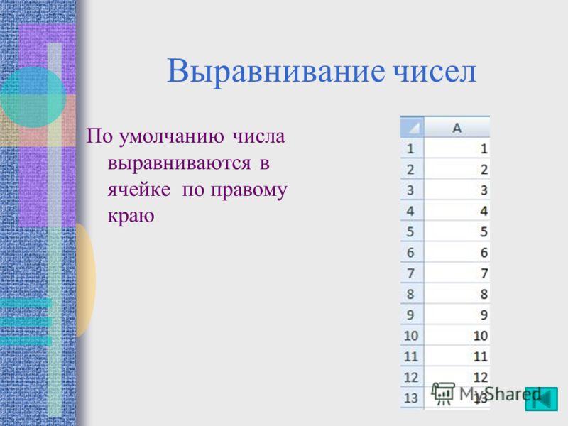 Выравнивание чисел По умолчанию числа выравниваются в ячейке по правому краю