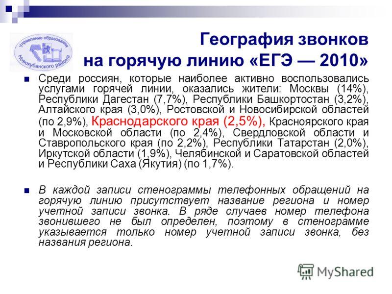 География звонков на горячую линию «ЕГЭ 2010» Среди россиян, которые наиболее активно воспользовались услугами горячей линии, оказались жители: Москвы (14%), Республики Дагестан (7,7%), Республики Башкортостан (3,2%), Алтайского края (3,0%), Ростовск