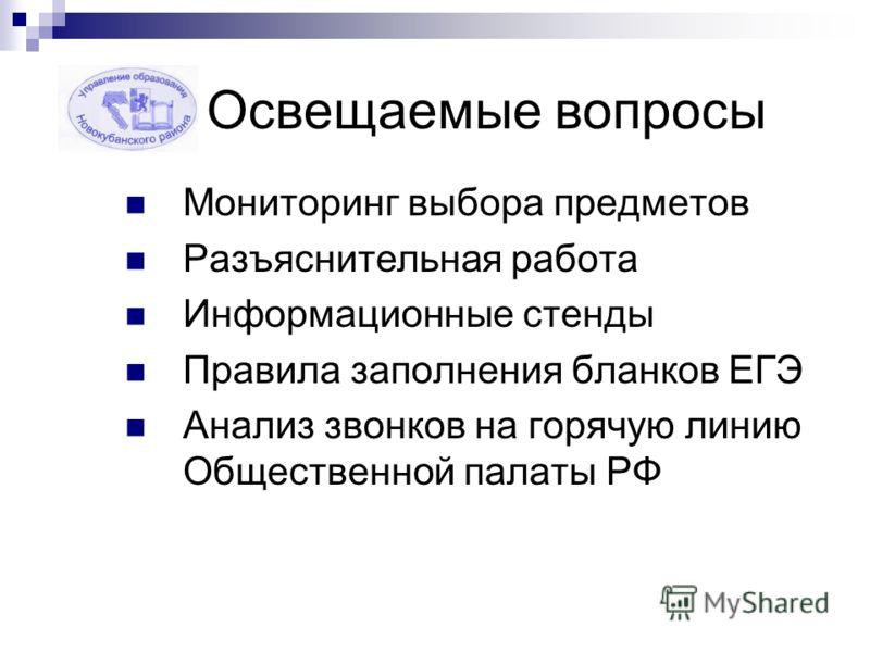 Освещаемые вопросы Мониторинг выбора предметов Разъяснительная работа Информационные стенды Правила заполнения бланков ЕГЭ Анализ звонков на горячую линию Общественной палаты РФ