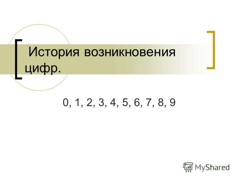История возникновения цифр. 0, 1, 2, 3, 4, 5, 6, 7, 8, 9