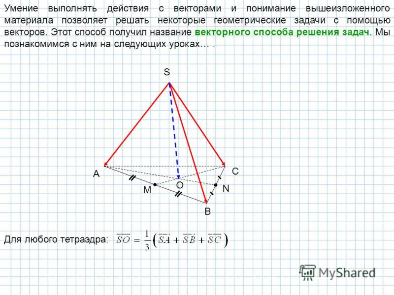Умение выполнять действия с векторами и понимание вышеизложенного материала позволяет решать некоторые геометрические задачи с помощью векторов. Этот способ получил название векторного способа решения задач. Мы познакомимся с ним на следующих уроках…