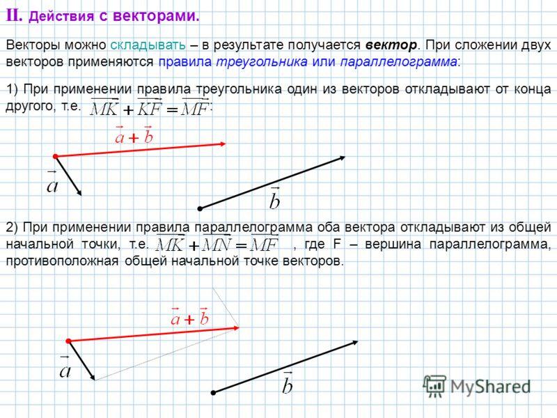 II. Действия с векторами. Векторы можно складывать – в результате получается вектор. При сложении двух векторов применяются правила треугольника или параллелограмма: 1) При применении правила треугольника один из векторов откладывают от конца другого
