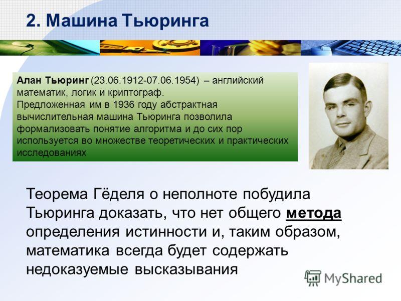 Алан Тьюринг (23.06.1912-07.06.1954) – английский математик, логик и криптограф. Предложенная им в 1936 году абстрактная вычислительная машина Тьюринга позволила формализовать понятие алгоритма и до сих пор используется во множестве теоретических и п