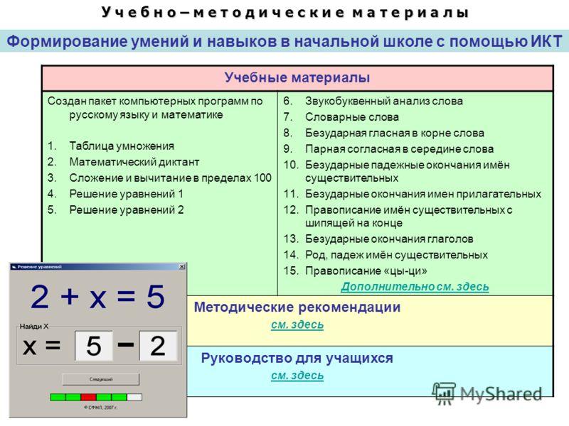 Формирование умений и навыков в начальной школе с помощью ИКТ У ч е б н о – м е т о д и ч е с к и е м а т е р и а л ы Учебные материалы Создан пакет компьютерных программ по русскому языку и математике 1.Таблица умножения 2.Математический диктант 3.С