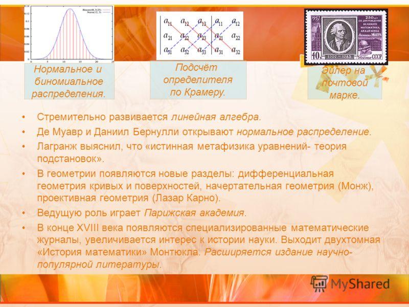 Стремительно развивается линейная алгебра. Де Муавр и Даниил Бернулли открывают нормальное распределение. Лагранж выяснил, что «истинная метафизика уравнений- теория подстановок». В геометрии появляются новые разделы: дифференциальная геометрия кривы