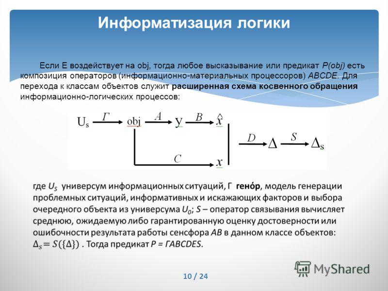 Информатизация логики 10 / 24 Если Е воздействует на obj, тогда любое высказывание или предикат P(obj) есть композиция операторов (информационно-материальных процессоров) ABCDE. Для перехода к классам объектов служит расширенная схема косвенного обра
