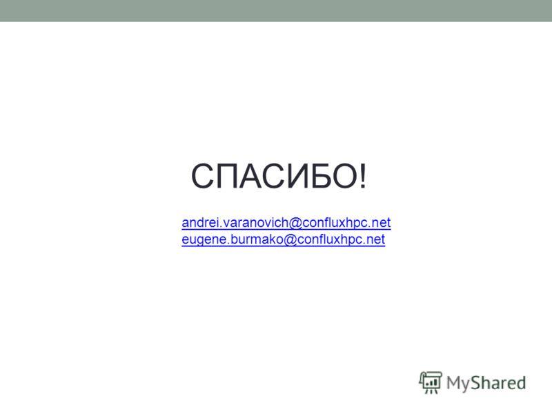 СПАСИБО! andrei.varanovich@confluxhpc.net eugene.burmako@confluxhpc.net