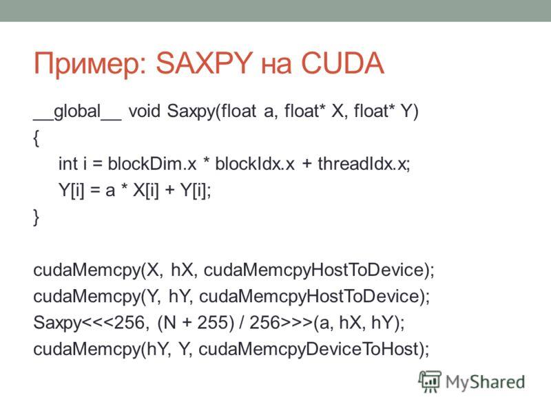 Пример: SAXPY на CUDA __global__ void Saxpy(float a, float* X, float* Y) { int i = blockDim.x * blockIdx.x + threadIdx.x; Y[i] = a * X[i] + Y[i]; } cudaMemcpy(X, hX, cudaMemcpyHostToDevice); cudaMemcpy(Y, hY, cudaMemcpyHostToDevice); Saxpy >>(a, hX,