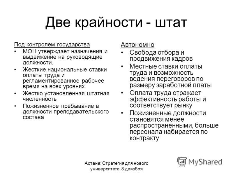 Астана: Стратегия для нового университета, 8 декабря Две крайности - штат Под контролем государства МОН утверждает назначения и выдвижение на руководящие должности. Жесткие национальные ставки оплаты труда и регламентированное рабочее время на всех у