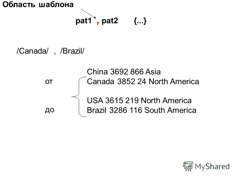 Область шаблона pat1, pat2 {...} /Canada/, /Brazil/ China 3692 866 Asia Canada 3852 24 North America USA 3615 219 North America Brazil 3286 116 South America от до