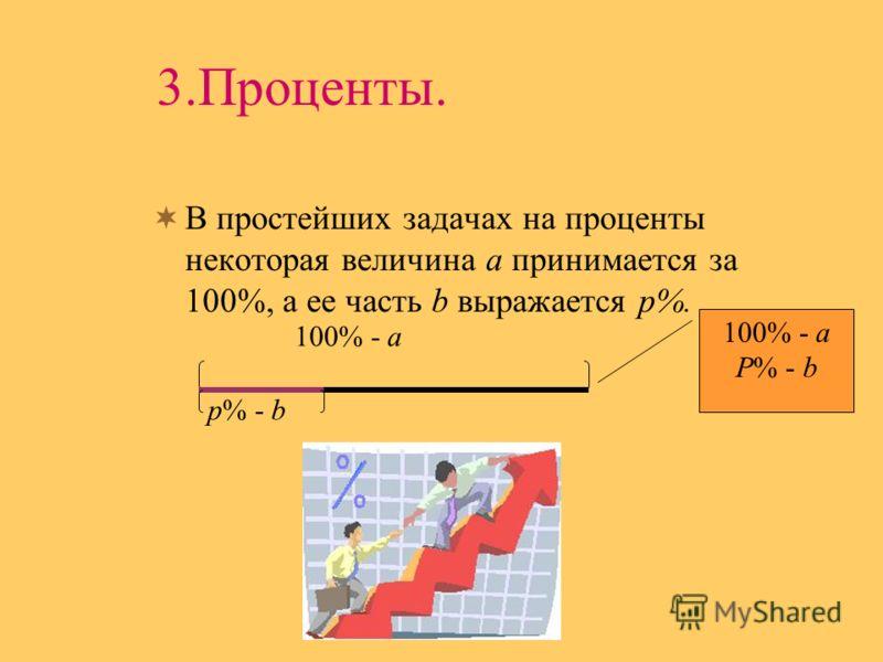3.Проценты. В простейших задачах на проценты некоторая величина а принимается за 100%, а ее часть b выражается p%. 100% - a p% - b 100% - a P% - b
