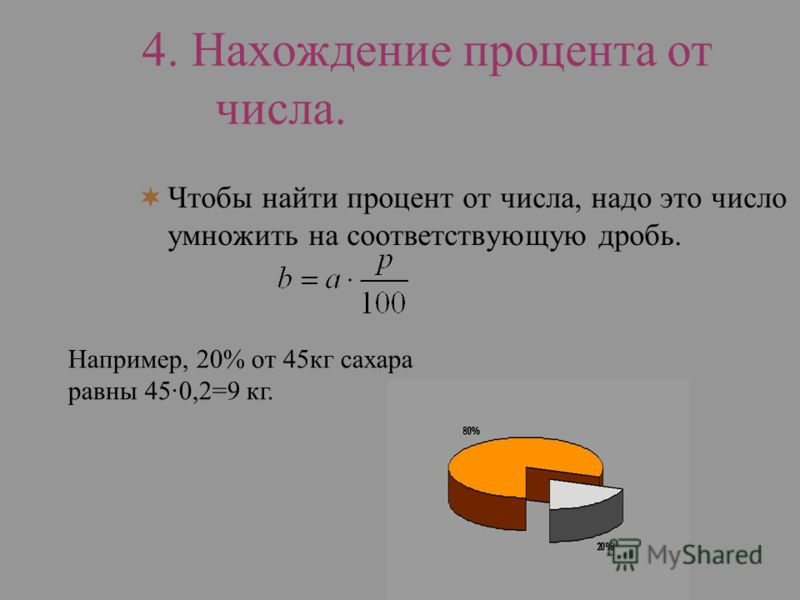 4. Нахождение процента от числа. Чтобы найти процент от числа, надо это число умножить на соответствующую дробь. Например, 20% от 45кг сахара равны 45·0,2=9 кг.