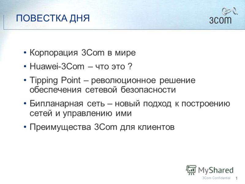 3Com Confidential Бипланарные сети – новый взгляд на управление ИТ ресурсами Павел Козлов Руководитель отдела корпоративных продаж