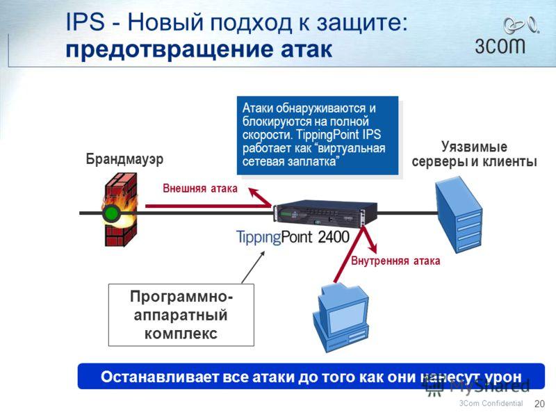 19 3Com Confidential Открытые порты для доступа к серверу Серверы и клиенты, на которые нужно установить заплатки Брандмауэр IDS ТРЕВОГА! Внешняя атака проникает через брандмауэр Умножьте на тысячи серверов и клиентов … масштаб проблемы Умножьте на т