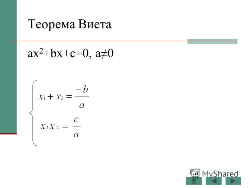 Теорема Виета ax 2 +bx+c=0, а0