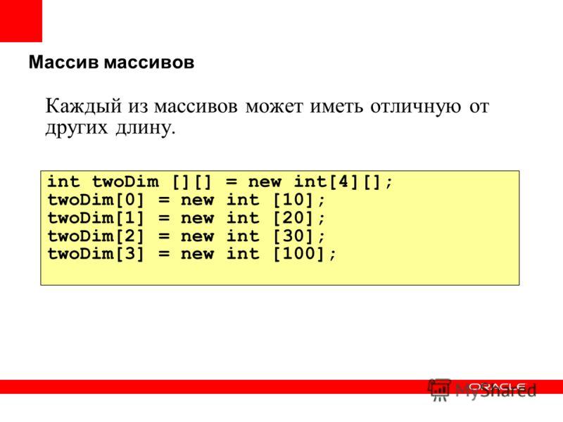 Массив массивов Каждый из массивов может иметь отличную от других длину. int twoDim [][] = new int[4][]; twoDim[0] = new int [10]; twoDim[1] = new int [20]; twoDim[2] = new int [30]; twoDim[3] = new int [100];