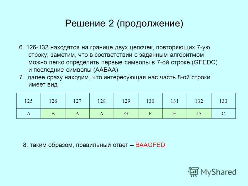 Решение 2 (продолжение) 6. 126-132 находятся на границе двух цепочек, повторяющих 7-ую строку; заметим, что в соответствии с заданным алгоритмом можно легко определить первые символы в 7-ой строке (GFEDC) и последние символы (AABAA) 7. далее сразу на