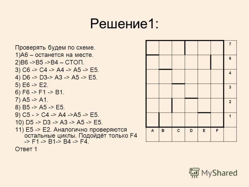 Решение1: Проверять будем по схеме. 1)A6 – останется на месте. 2)B6 ->B5 ->B4 – СТОП. 3) C6 -> C4 -> A4 -> A5 -> E5. 4) D6 -> D3-> A3 -> A5 -> E5. 5) E6 -> E2. 6) F6 -> F1 -> B1. 7) A5 -> A1. 8) B5 -> A5 -> E5. 9) C5 - > C4 -> A4 ->A5 -> E5. 10) D5 -