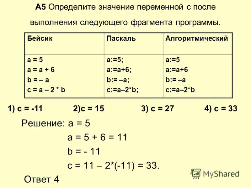 А5 Определите значение переменной c после выполнения следующего фрагмента программы. Решение: а = 5 a = 5 + 6 = 11 b = - 11 с = 11 – 2*(-11) = 33. Ответ 4 БейсикПаскальАлгоритмический a = 5 a = a + 6 b = – a c = a – 2 * b a:=5; a:=a+6; b:= –a; c:=a–2