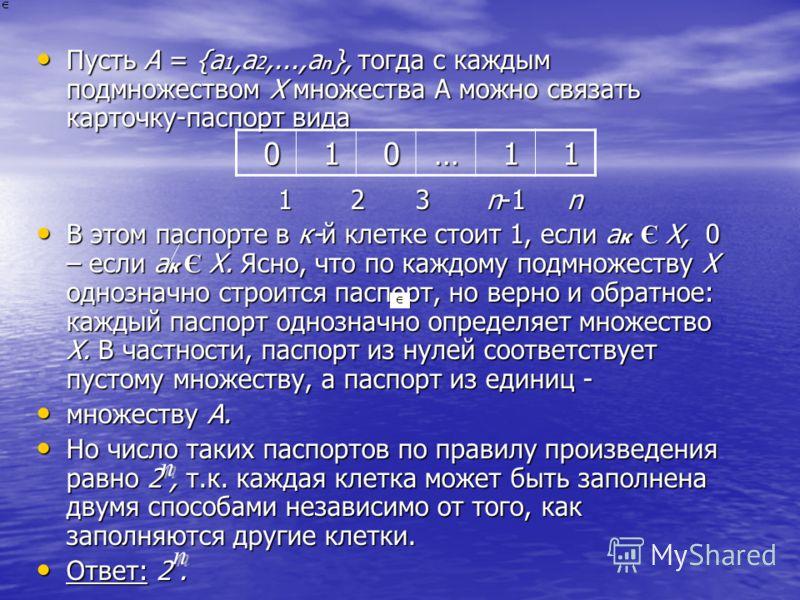 Пусть А = {а 1,а 2,...,а n }, тогда с каждым подмножеством X множества A можно связать карточку-паспорт вида Пусть А = {а 1,а 2,...,а n }, тогда с каждым подмножеством X множества A можно связать карточку-паспорт вида 1 2 3 n-1 n 1 2 3 n-1 n В этом п