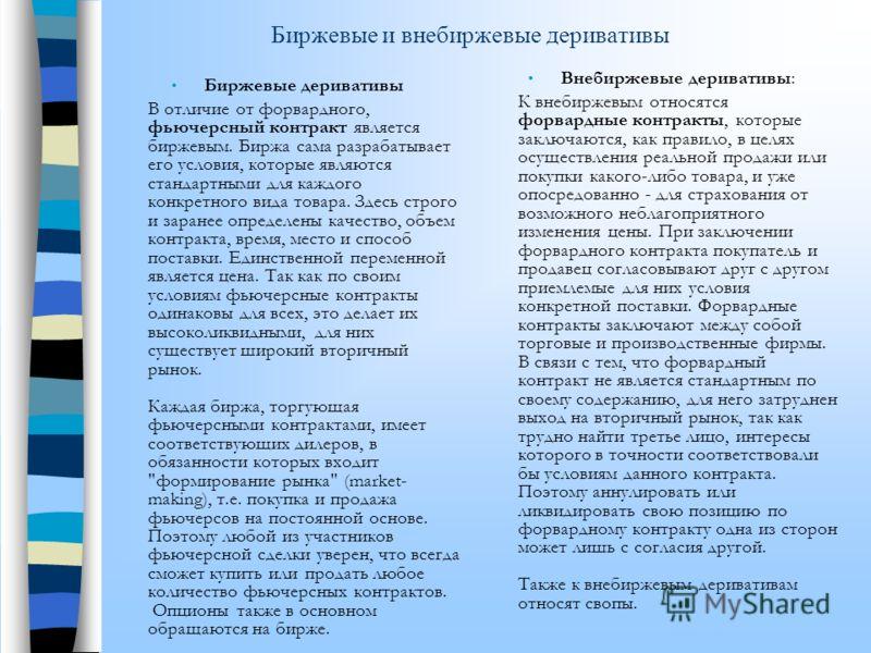 Виды производных инструментов Форвардный контракт Фьючерсный контракт ОпционСвоп