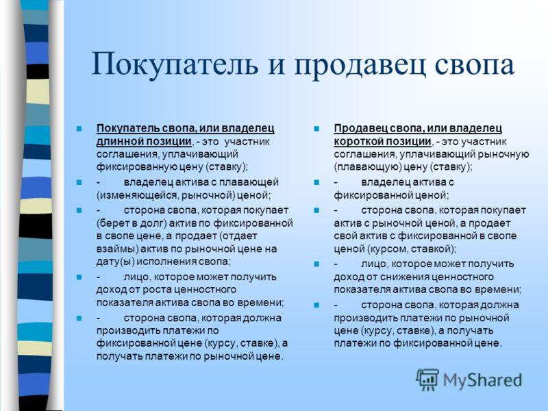 Определение свопа Своп – это соглашение, заключаемое на определенный срок, каждая из сторон которого обменивает имеющиеся у нее рыночное обязательство на необходимое ей обязательство; - соглашение, в котором каждая сторона занимает одновременно проти