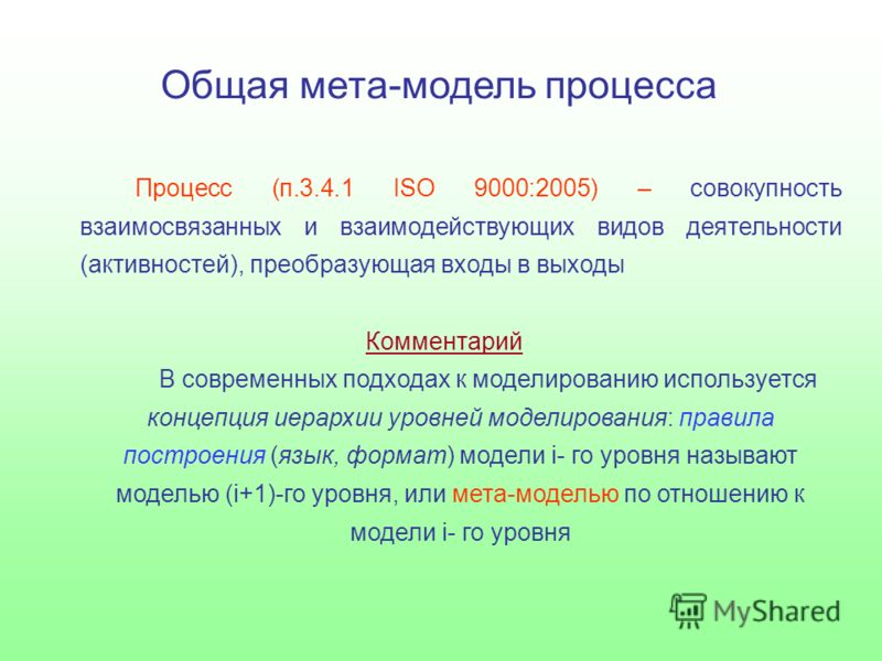 Общая мета-модель процесса Процесс (п.3.4.1 ISO 9000:2005) – совокупность взаимосвязанных и взаимодействующих видов деятельности (активностей), преобразующая входы в выходы Комментарий В современных подходах к моделированию используется концепция иер
