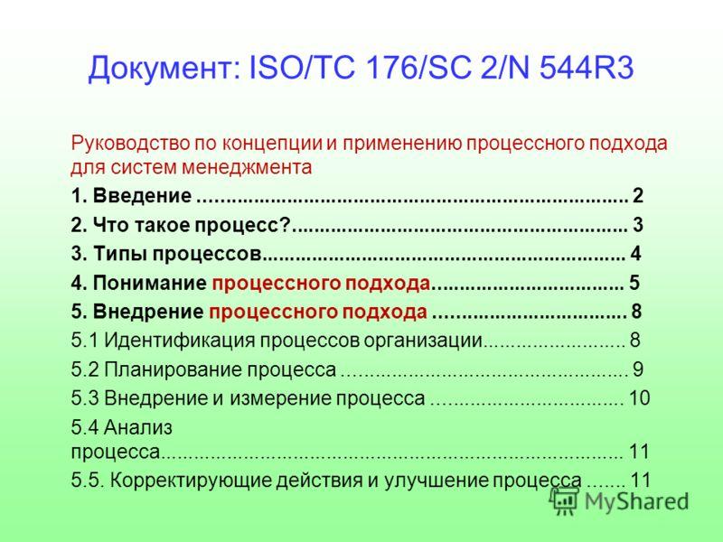 Документ: ISO/TC 176/SC 2/N 544R3 Руководство по концепции и применению процессного подхода для систем менеджмента 1. Введение.............................................................................. 2 2. Что такое процесс?......................