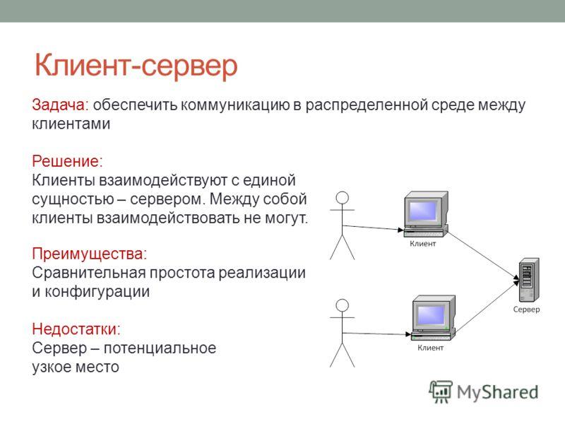 Клиент-сервер Задача: обеспечить коммуникацию в распределенной среде между клиентами Решение: Клиенты взаимодействуют с единой сущностью – сервером. Между собой клиенты взаимодействовать не могут. Преимущества: Сравнительная простота реализации и кон