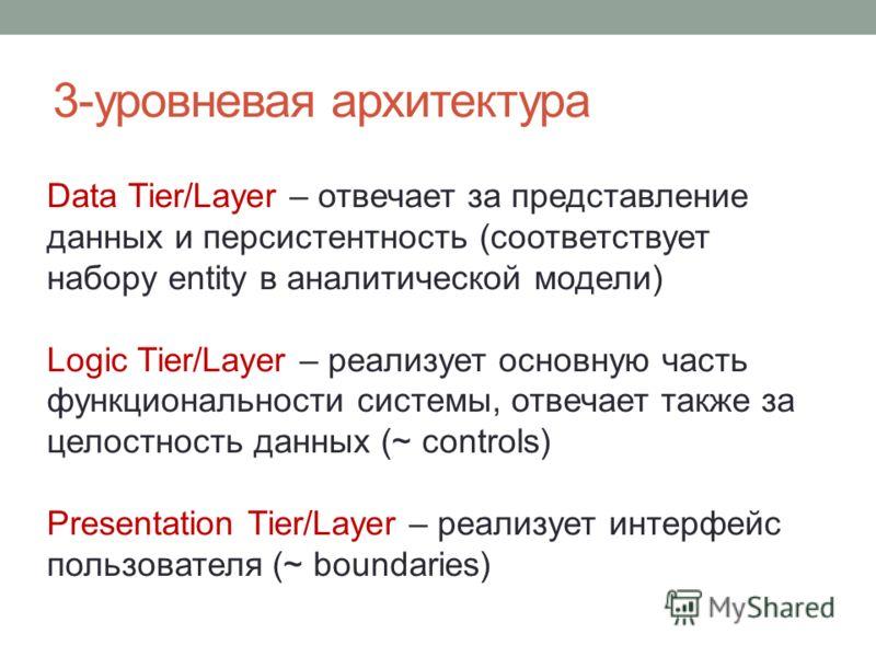 3-уровневая архитектура Data Tier/Layer – отвечает за представление данных и персистентность (соответствует набору entity в аналитической модели) Logic Tier/Layer – реализует основную часть функциональности системы, отвечает также за целостность данн