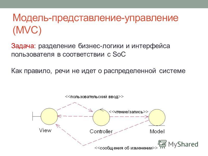Модель-представление-управление (MVC) Задача: разделение бизнес-логики и интерфейса пользователя в соответствии с SoC Как правило, речи не идет о распределенной системе