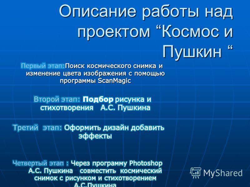 Описание работы над проектом Космос и Пушкин Описание работы над проектом Космос и Пушкин