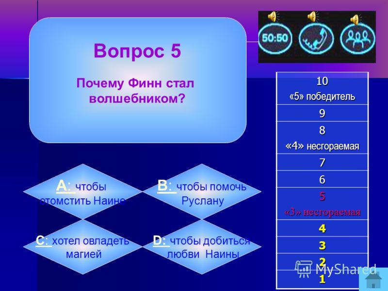 Вопрос 4 Чем угрожал Черномор невольникам, если они не найдут Людмилу?10 «5» победитель 9 8 «4» несгораемая 7 6 5 «3» несгораемая 4 3 2 1 А: А: всех удавить бородой B: B: всех утопить в реке C: C: всех заковать в цепи D: D: всех наказать плетьми