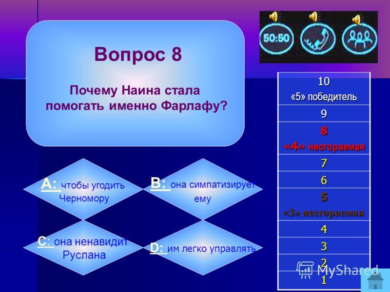 Вопрос 7 Совет старухи-колдуньи Фарлафу состоял в том, что он должен:10 «5» победитель 9 8 «4» несгораемая 7 6 5 «3» несгораемая 4 3 2 1 А: А: отправиться к Черномору за Людмилой B: B: сразиться с Русланом C: C: вернуться в свое селение под Киевом D:
