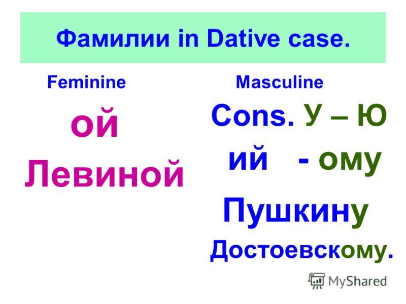 Фамилии in Dative case. Feminine ой Левиной Masculine Cons. У – Ю ий - ому Пушкину Достоевскому.