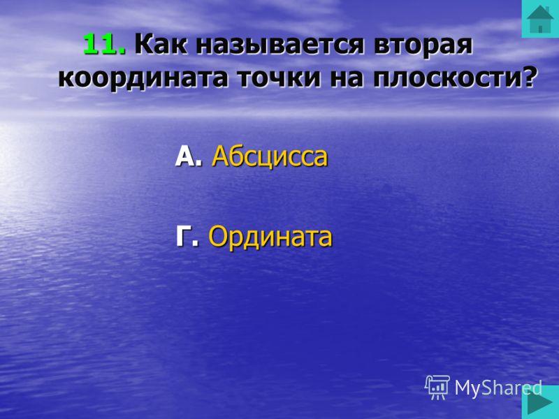 11. Как называется вторая координата точки на плоскости? А. Абсцисса Б. Икс В. Зет Г. Ордината 50 50 50