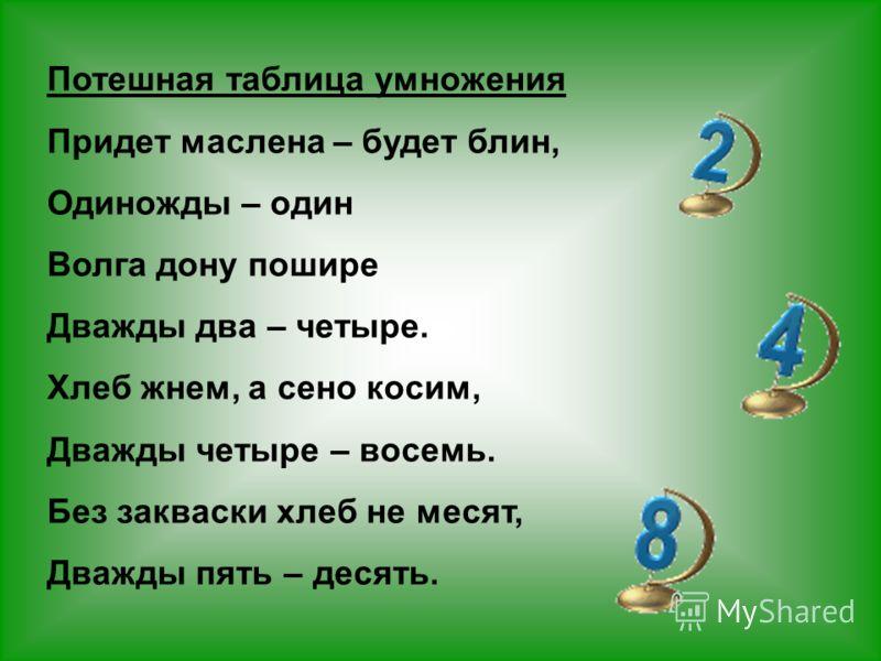 Потешная таблица умножения Придет маслена – будет блин, Одиножды – один Волга дону пошире Дважды два – четыре. Хлеб жнем, а сено косим, Дважды четыре – восемь. Без закваски хлеб не месят, Дважды пять – десять.