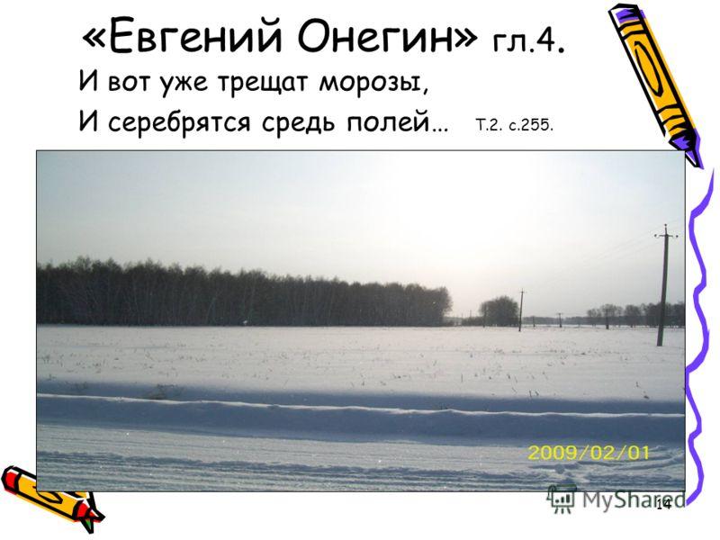 14 «Евгений Онегин» гл.4. И вот уже трещат морозы, И серебрятся средь полей… Т.2. с.255.