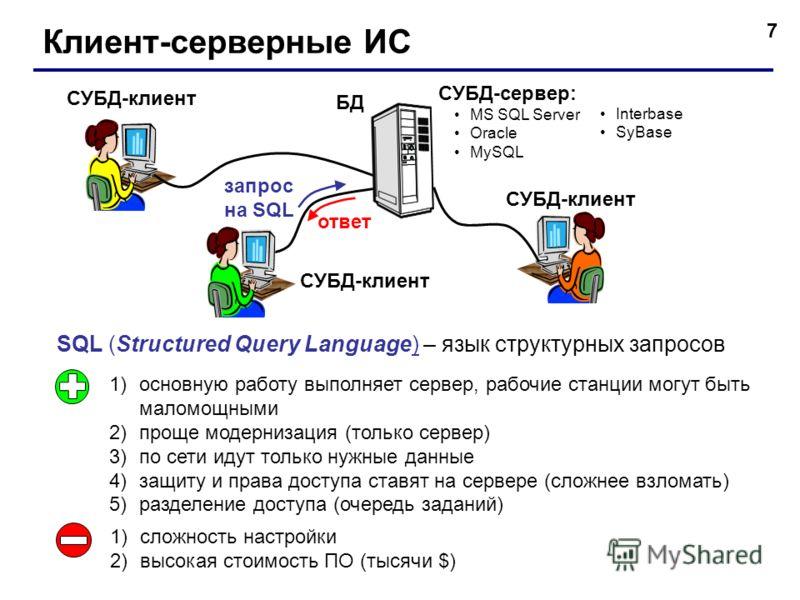 7 Клиент-серверные ИС БД СУБД-клиент 1)основную работу выполняет сервер, рабочие станции могут быть маломощными 2)проще модернизация (только сервер) 3)по сети идут только нужные данные 4)защиту и права доступа ставят на сервере (сложнее взломать) 5)р