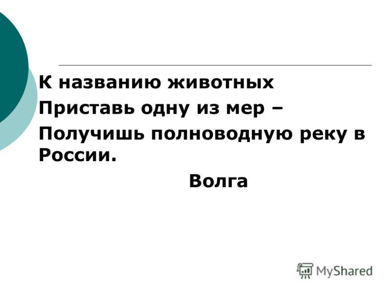 К названию животных Приставь одну из мер – Получишь полноводную реку в России. Волга