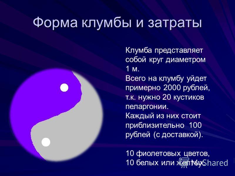 Форма клумбы и затраты Клумба представляет собой круг диаметром 1 м. Всего на клумбу уйдет примерно 2000 рублей, т.к. нужно 20 кустиков пеларгонии. Каждый из них стоит приблизительно 100 рублей (с доставкой). 10 фиолетовых цветов, 10 белых или желтых