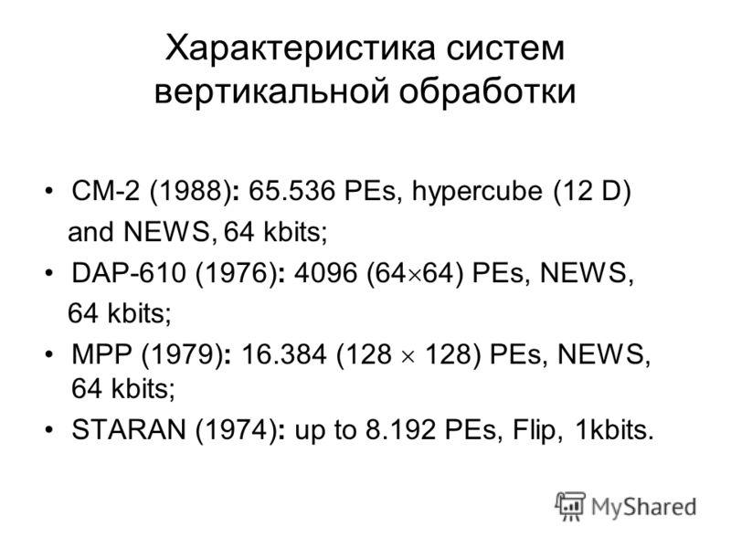 Характеристика систем вертикальной обработки CM-2 (1988): 65.536 PEs, hypercube (12 D) and NEWS, 64 kbits; DAP-610 (1976): 4096 (64 64) PEs, NEWS, 64 kbits; MPP (1979): 16.384 (128 128) PEs, NEWS, 64 kbits; STARAN (1974): up to 8.192 PEs, Flip, 1kbit