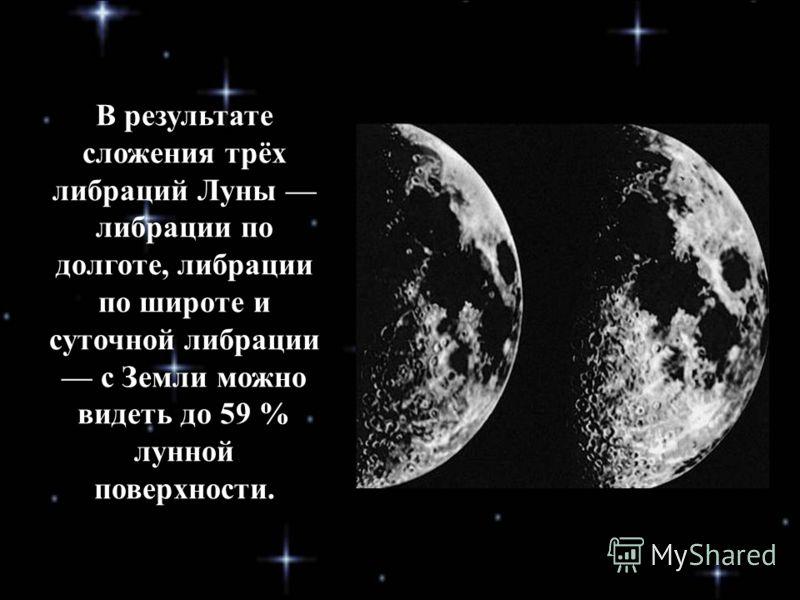 В результате сложения трёх либраций Луны либрации по долготе, либрации по широте и суточной либрации с Земли можно видеть до 59 % лунной поверхности.