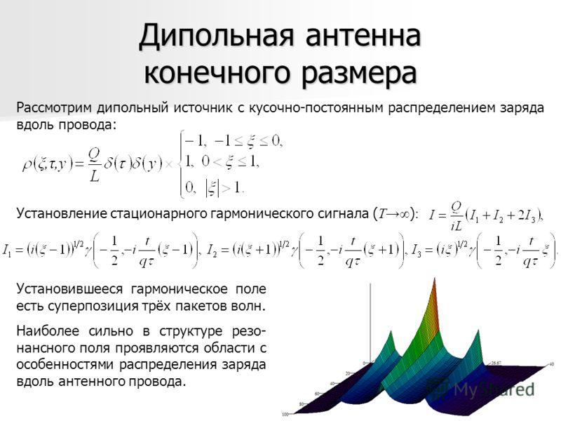 Дипольная антенна конечного размера Рассмотрим дипольный источник с кусочно-постоянным распределением заряда вдоль провода: Установление стационарного гармонического сигнала ( T ) : Установившееся гармоническое поле есть суперпозиция трёх пакетов вол