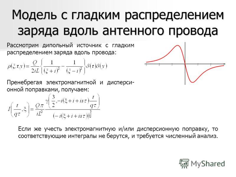 Модель с гладким распределением заряда вдоль антенного провода Рассмотрим дипольный источник с гладким распределением заряда вдоль провода: Пренебрегая электромагнитной и дисперси- онной поправками, получаем: Если же учесть электромагнитную и/или дис