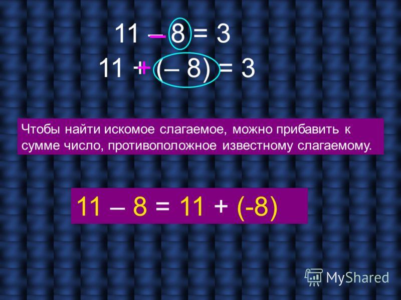 11 – 8 = 3 11 + (– 8) = 3 + Чтобы найти искомое слагаемое, можно прибавить к сумме число, противоположное известному слагаемому. 11 – 8 = 11 + (-8)