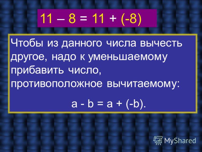 Чтобы из данного числа вычесть другое, надо к уменьшаемому прибавить число, противоположное вычитаемому: a - b = а + (-b).