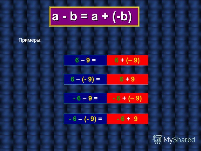 a - b = а + (-b) Примеры: 6 – 9 = 6 – (- 9) = - 6 – 9 = - 6 – (- 9) = 6 + (– 9) 6 + 9 - 6 + (– 9) - 6 + 9