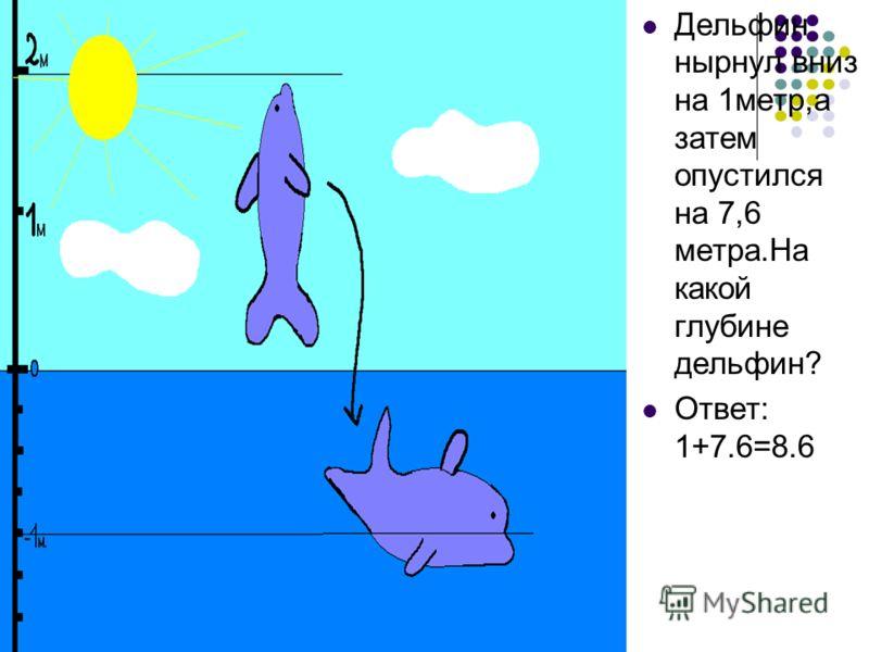 Дельфин нырнул вниз на 1метр,а затем опустился на 7,6 метра.На какой глубине дельфин? Ответ: 1+7.6=8.6